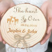 Personalized Wood Ring Holder Rustic Country Wedding Custom engagementring Box The Hunt is Over with custom name and date