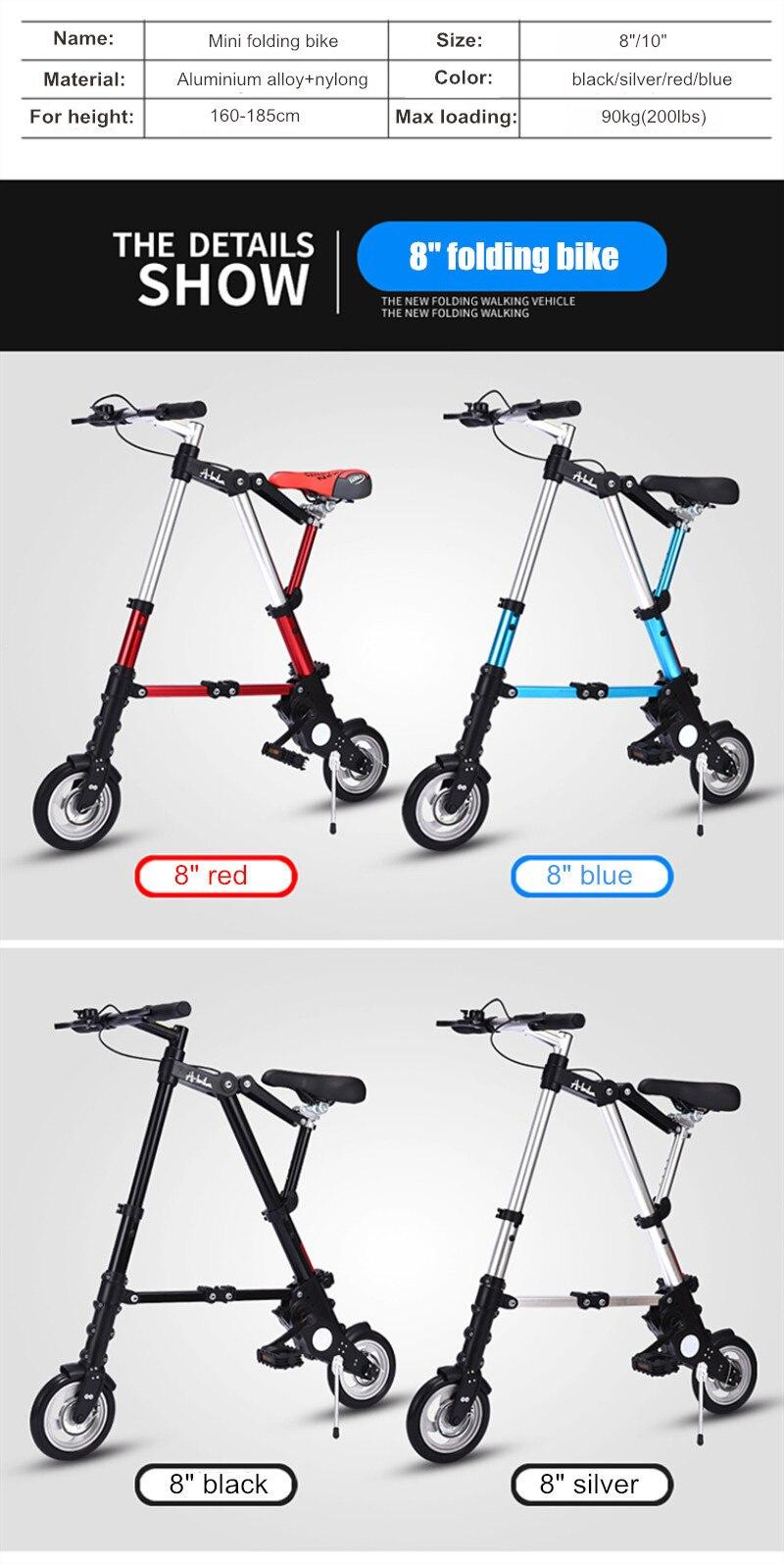 "HTB17wqdXbr1gK0jSZR0q6zP8XXaq Brand New Ultra Light 8""/10"" Mini Folding Bike Bicycle Portable Outdoor Subway Transit Vehicles Foldable Bicicleta"
