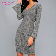 S.FLAVOR Gray women sheath mini dress nightclub style sexy V-neck bottom vestidos 2019 Autumn Winter long sleeve knitted dress(China)