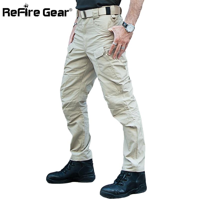 ReFire Gear IX7 City Tactical Military Pants Men SWAT Rip-Stop Waterproof Cargo Pants Man Multi-Pocket Camo Combat Army Trousers