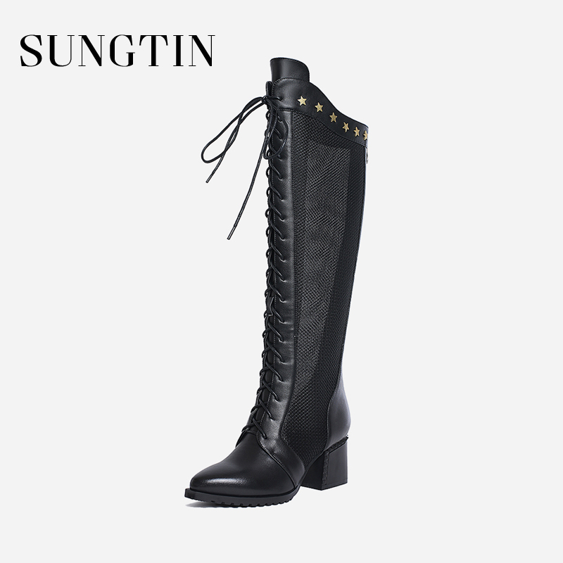 Sungtin Genuine Leather Knee-High Boots Women Spring Summer Mesh Lace-Up Long Boots Lady Chunky High Heels Runway Riding Boots купить в Москве 2019