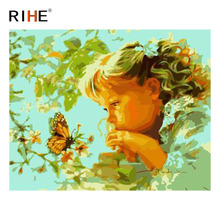 RIHE Girl With Butterfly Oil Painting By Numbers Flower Cuadros Decoracion Acrylic Paint On Canvas For Artwork Modern Home Decor