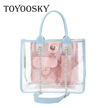 ФОТО toyoosky 2018 summer transparent trendy composite bag pvc clear handbag lady quilted plaid bag fashion women shoulder tote