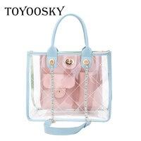 TOYOOSKY 2018 Summer Transparent Trendy Composite Bag PVC Clear Handbag Lady Quilted Plaid Bag Fashion Women