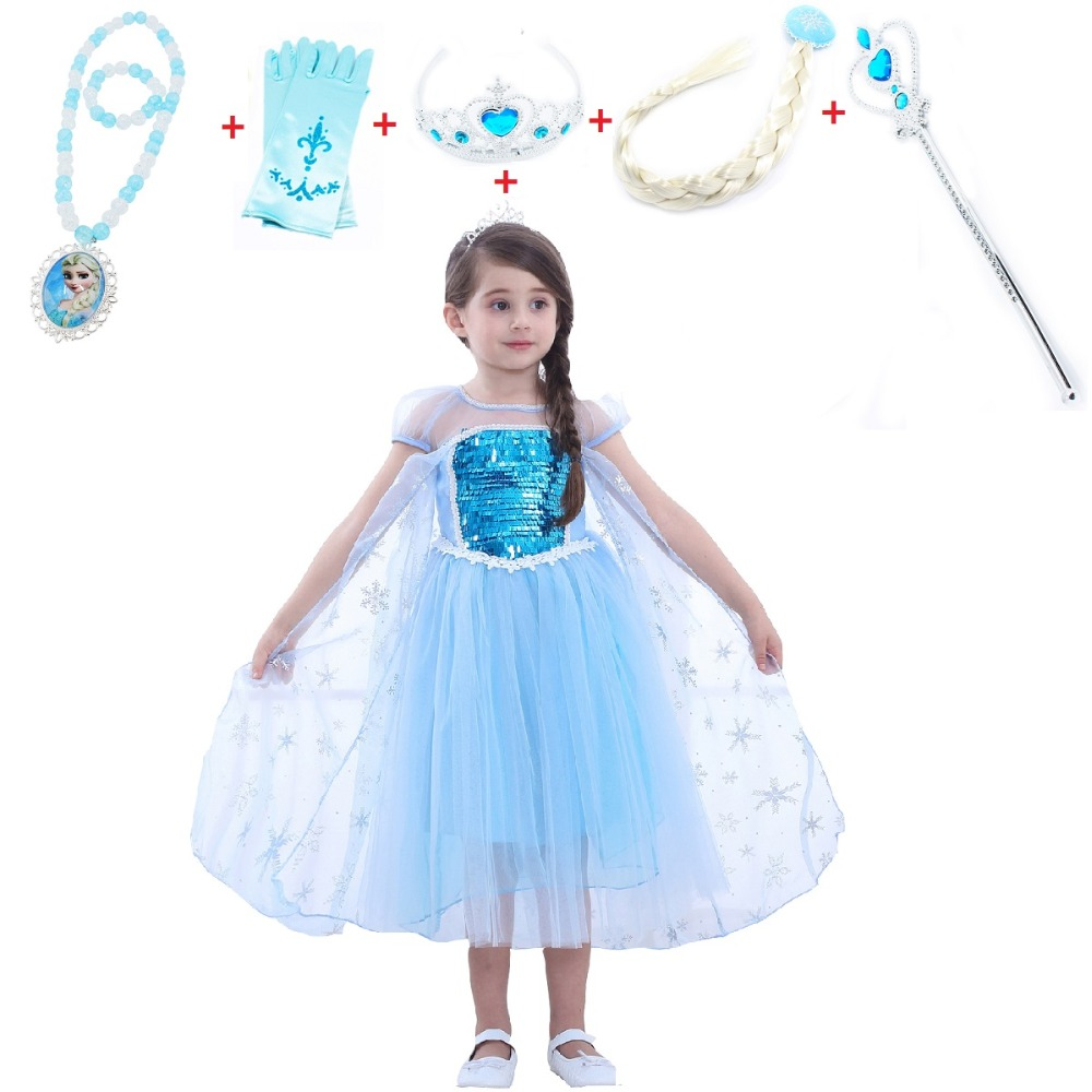 2018 New Frozen Elsa Costume Dress Halloween Costume Child dress for kids Cosplay Costume with Crown scepter wig necklace Wand