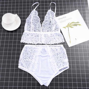 LITTHING Hot Sale Women Lace Sexy Bra Set Push Up Seamless Embroidery Bralette Erotic Lingerie Transparent Underwear Sets S-XL 1