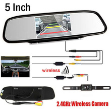 цена на YeHeng store Wireless Video Car CCD Rear View Camera Car parking backup camera Connect HD 5 inch Rearview Mirror Parking Monitor