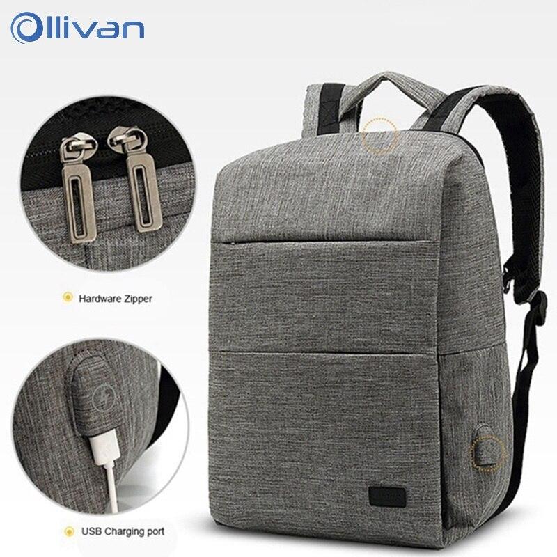 Ollivan ноутбук сумка рюкзак для 14 дюймов Usb большой Ёмкость Stundet рюкзак Повседневное Стиль сумка репелленты подходит для путешествий