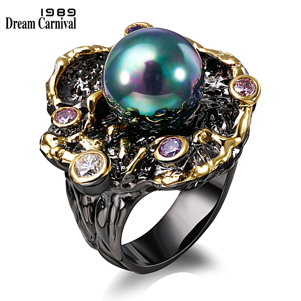DreamCarnival1989 Elegant Unique Vintage Rings for Purple CZ Bague Black Gold Color Anillos Mujer Synthetic Pearl ZR14110