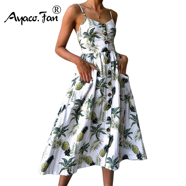d58de95e74a56 US $10.69 34% OFF|Sexy V Neck Backless Floral Print Summer Beach Dress  Women 2019 Boho Button Pineapple Daisy Pineapple Party Midi Dresses-in  Dresses ...