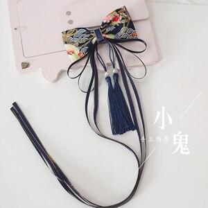 Бант Шпилька для волос в японском стиле, цвет вишневого цвета, банный бантик, кисточки, украшения для волос на боку