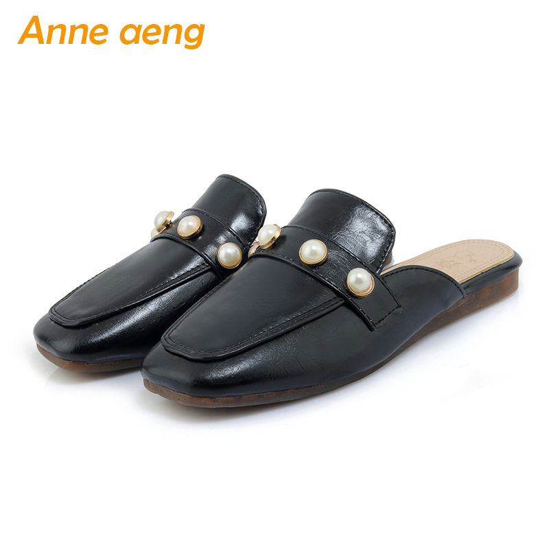 spring and summer women flippers pearl square toe soft outsole casual mules ladies slides outdoor black white women slippers medicine science type blood test slides and marrow slides