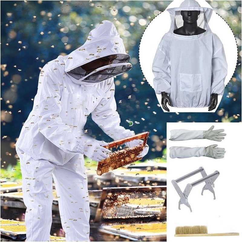 Beekeeper Jacket Veil Suit Smock+ Gloves+ Hive Frame Holder+Brush Beekeeping Set