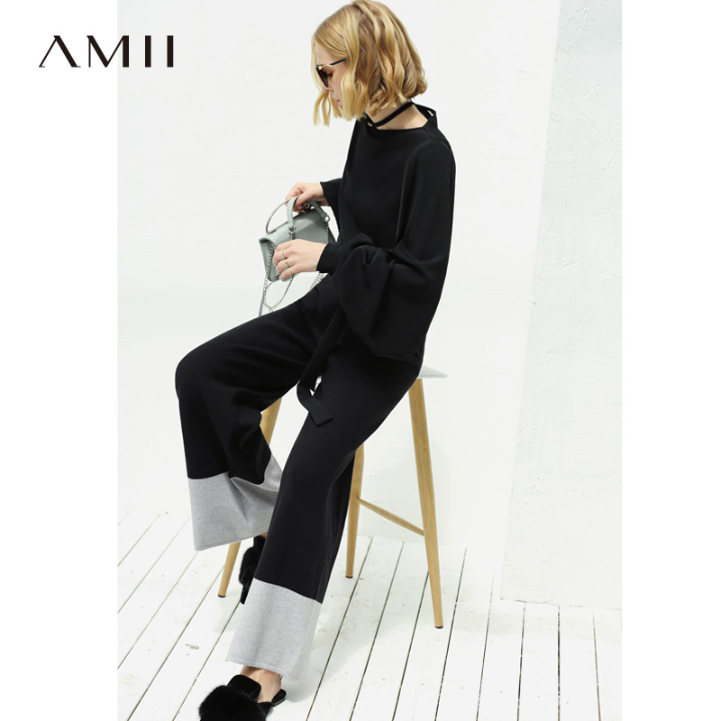 Amii Minimalist Knitted Wide Leg Pants Women Autumn Winter 2019 Casual Patchwork Elastic Waist  High Loose Female  Long Trousers