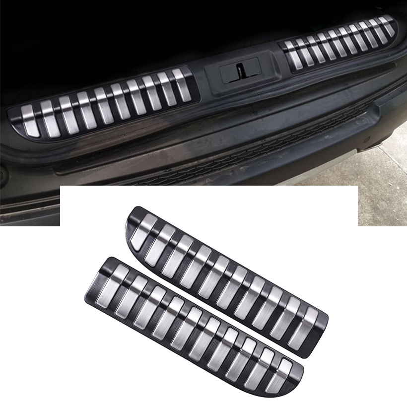 2pcs Silver/Black Stainless Steel Rear Interior Door Bumper Trim For Range Rover Sport 2014-2017 Accessories Car Styling for land rover range rover sport stainless inside door sill scuff plate 2014 2017 4pcs silver black