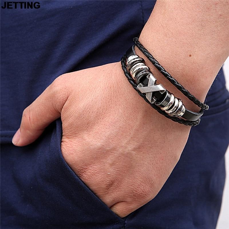 JETTING 1Pc Retro Leather Bracelet Exquisite Bracelet Letter X Multilayer Bangle