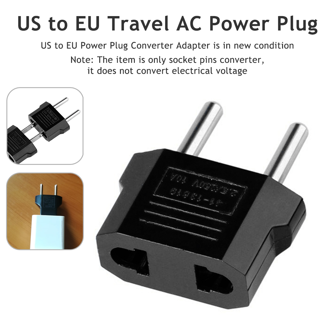 European EU Plug Adapter US American To Europe Euro Travel Power Adapter Plug Outlet Converter Socket