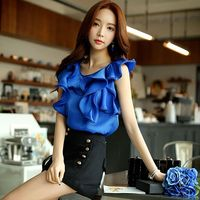Original 2016 Brand Blusas Plus Size Slim Elegant Casual Cute Short Sleeve Ruffles Summer Shirts And