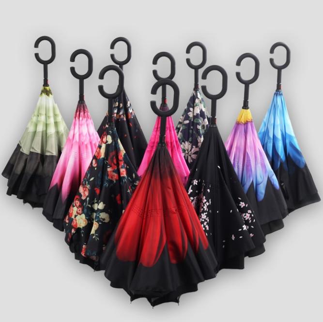 TINGSEN Folding Reverse Umbrella Double Layer Inverted Windproof Rain Car Umbrellas For Women