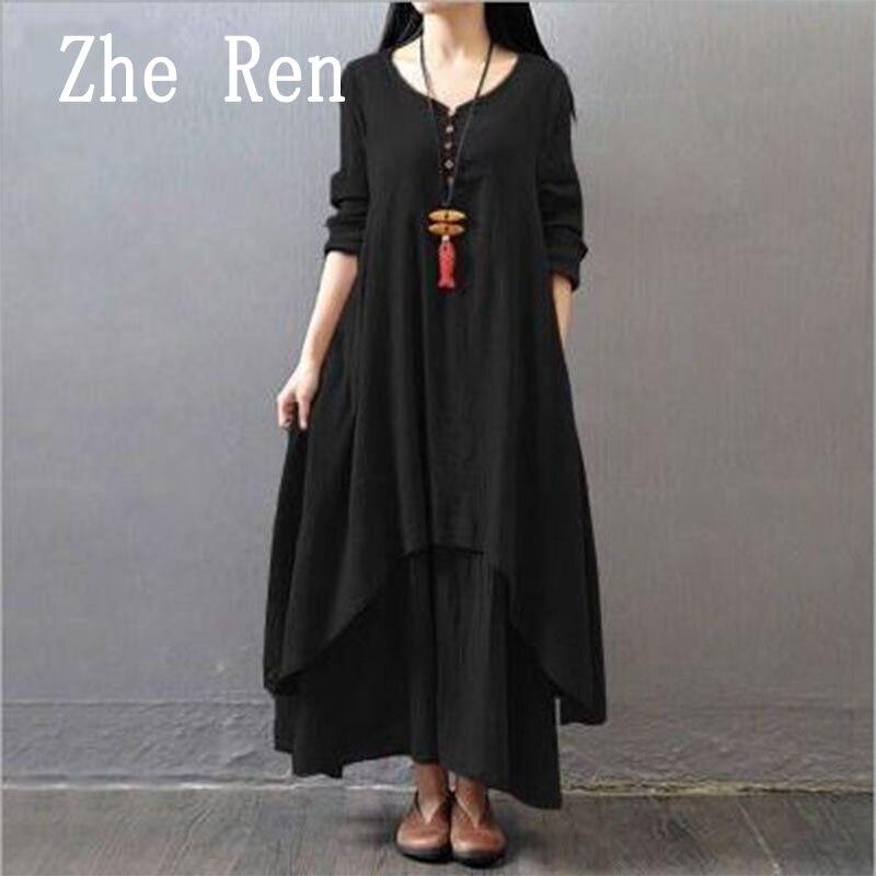 2018 популярное стильное хлопковое и льняное литературное платье с длинными рукавами на весну и лето, Корейская версия двух частей фальшивых ...