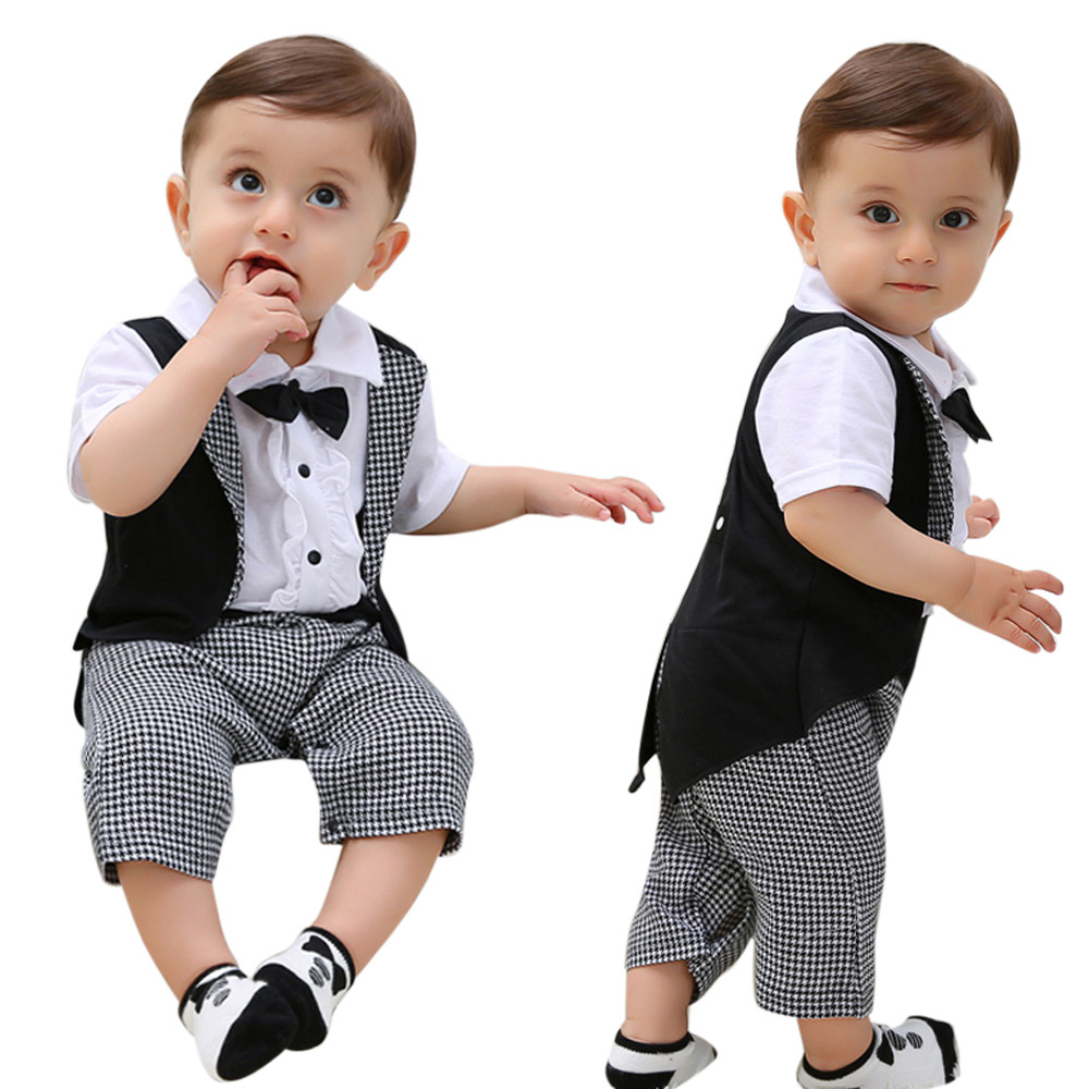 100% Kwaliteit Chamsgend Peuter Baby Jongens Katoen Blend Gentleman Bowtie Plaid Swallowtail Romper Jumpsuit Outfits Mode Feb2 P30