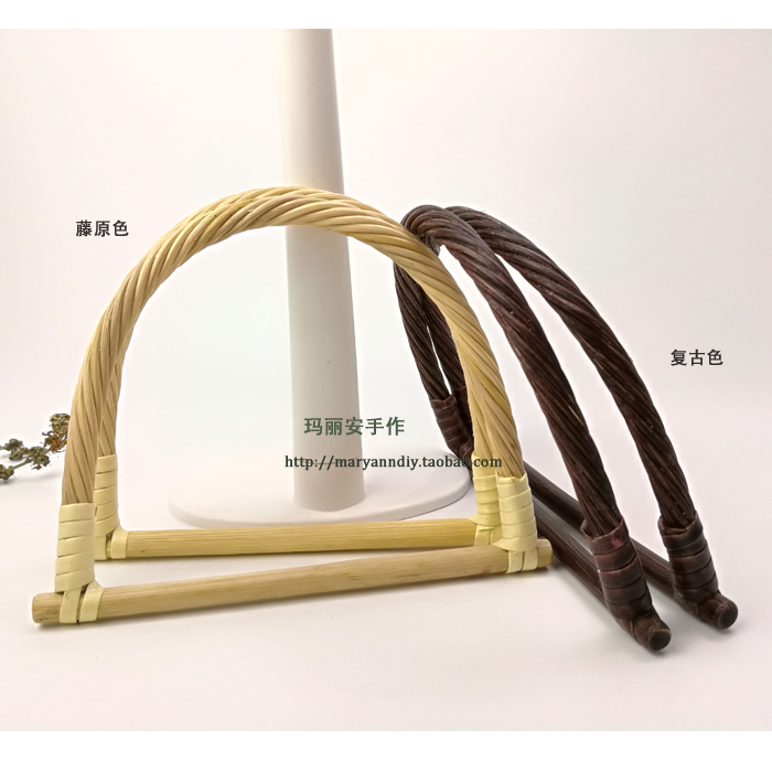 15cm D Rattan Bag Handle Purse Frame Obag Wholesale Diy Handbag Replacement Bag Hanger Bamboo Rattan Purse Handles