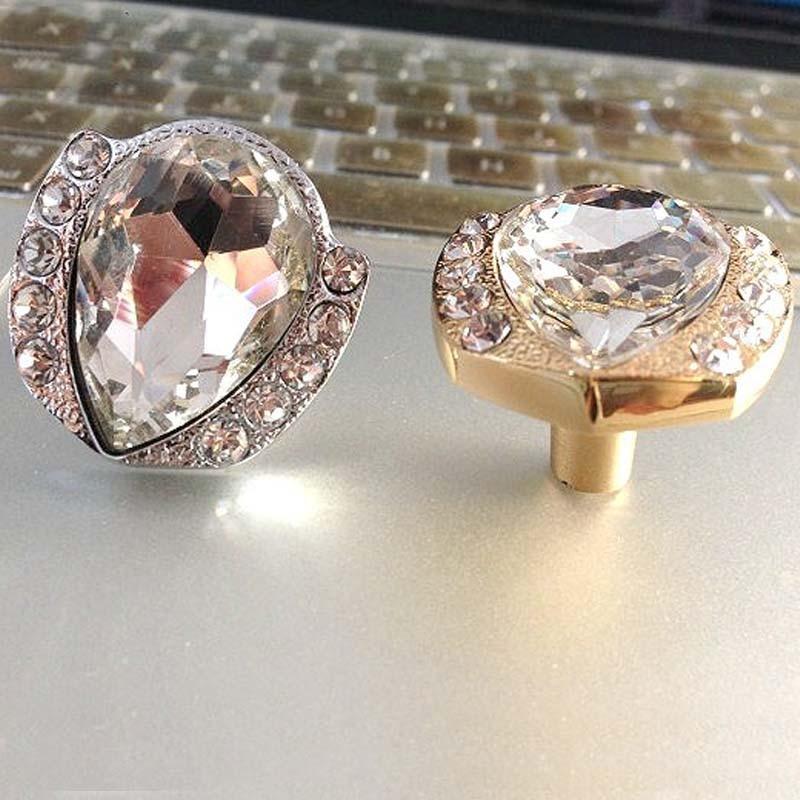 Modern fashion diamond crystal furniture knobs gold silver drawer cabinet dresser furmiture door handles pulls knobs