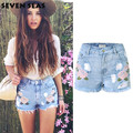 2016 Summer Shorts Femme Rose Embroidery High Waisted Denim Shorts for Women Ripped Shorts Jeans cut off Pantalones Cortos Mujer