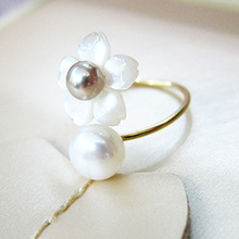 women pearl flower ring gold plated double freshwater pearl fashion jewelry fine gift white romantic open pearl ring for women