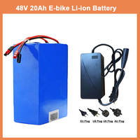 48V 20AH battery pack 48V 20AH 1000W ebike e scooter Lithium ion battery 30A BMS and 2A Charger Free customs tax