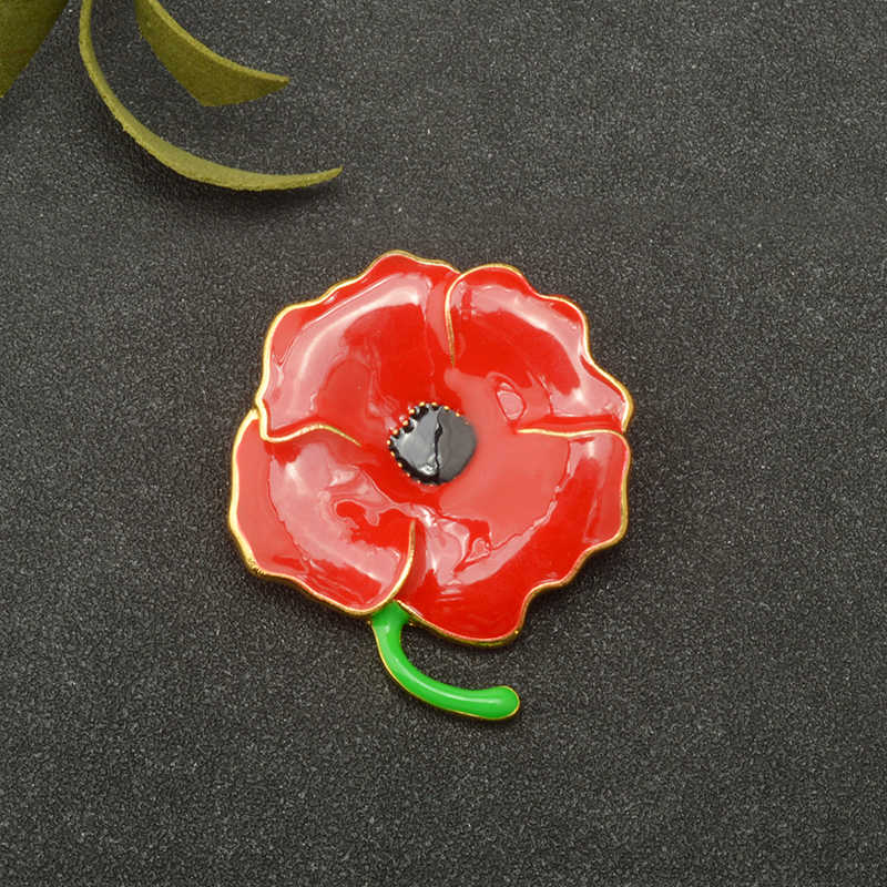 Detail Feedback Questions About New Design Gold Alloy Red Poppy