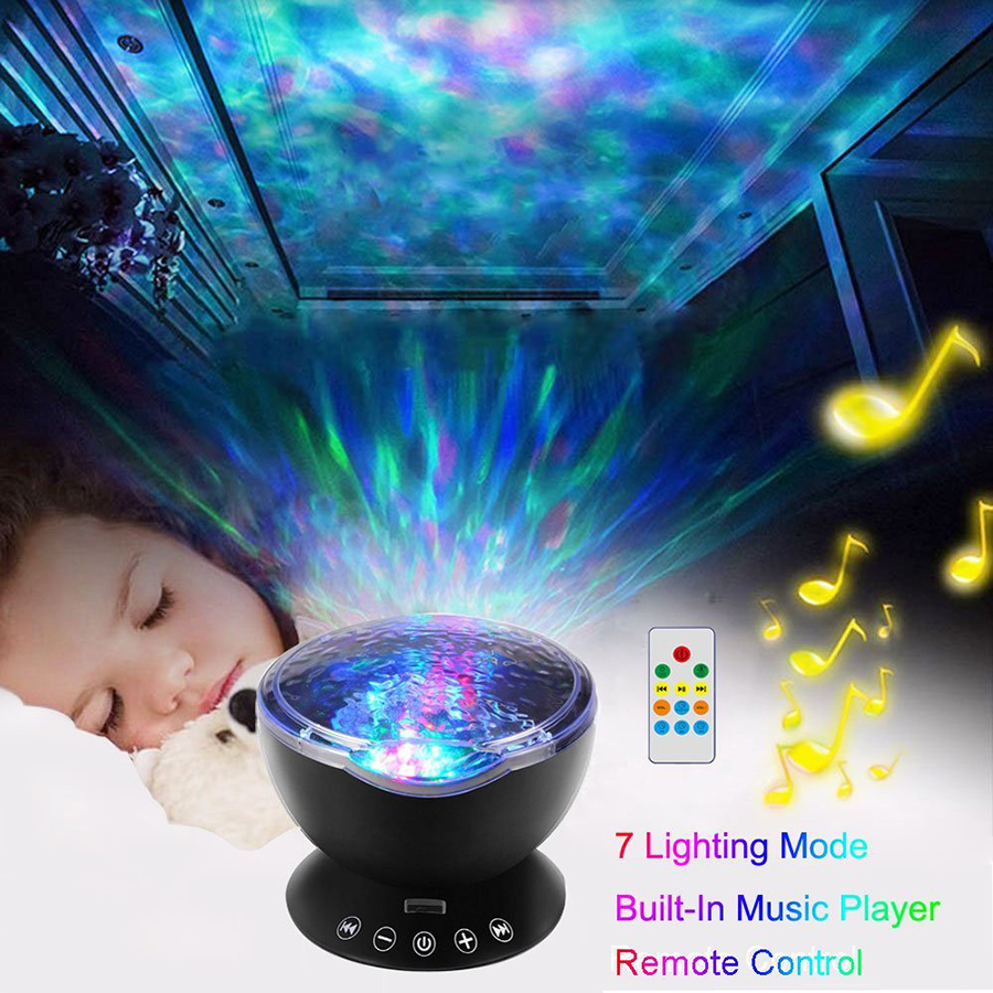 Colorful water Waves lighting effect Projector Lamp Rechargeable USB LED Night Light baby bedroom sleep light Remote Controller