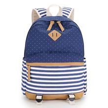 Hanup  Fashion Canvas School Bags For Teenager Girls Boy Striped Printing Mochila Escolar Casual Bag School Backpack for Women