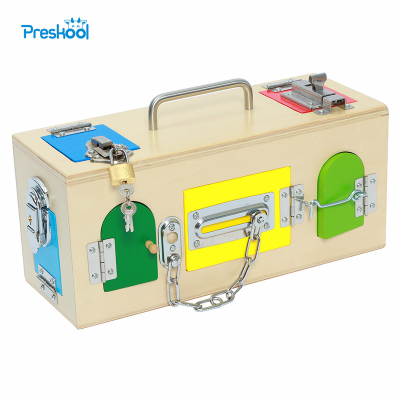 Montessori Professional Version Baby Kids Training Toy Lock Box Early Childhood Education Preschool Brinquedos Juguetes kids toy montessori colorful lock box early learning childhood kindergarten montessori education preschool training kid juguetes