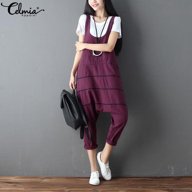 80d559449541 2018 Celmia Women Retro Cotton Harem Pants Romper Plus Size Jumpsuits  Sleeveless Strap Dungarees Pockets Casual Loose Overalls