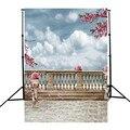 5X7FT Scenery Railing Flower Landscape Theme Photography Background For Studio Photo Props Vinyl Photographic Backdrop