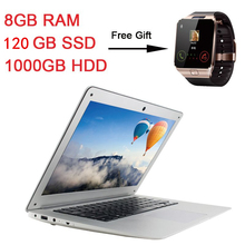 Laptop Ultrathin Quad Core J1900 Windows10 system 8GB Ram+120GB SSD+1000GB HDD  Notebook Computer with free shipping to Russian