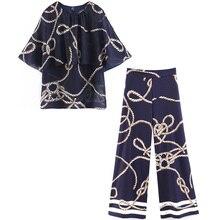 Traje de mujer 2020 Primavera Verano camisa delgada pantalones de pierna ancha conjunto de dos piezas mujeres Vintage Tops sueltos imprimir blusa Pantalones mujer 2 uds