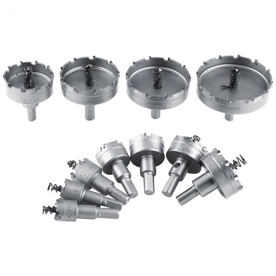 11pcs 20-75mm HSS Drill Bit Hole Saw Set Carbide Tip Core Metalworking Hole Cutter Tools Holesaw Tooth Wood Drilling Hole Tool new 50mm wall hole saw drill bit set 200mm connecting rod with wrench mayitr for concrete cement stone