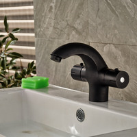 Oil Rubbed Bronze Thermostatic Bathroom Basin Faucet Dual Handles