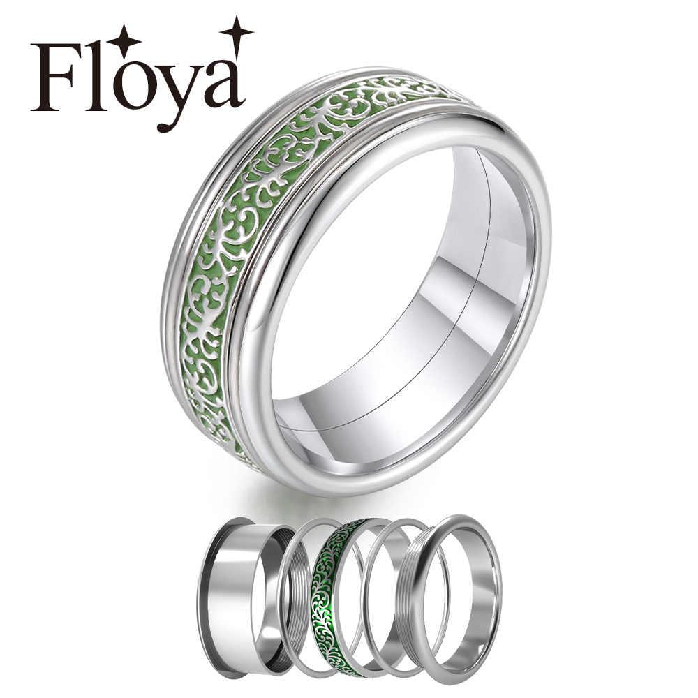 Floya 8 มม.แหวนสีเขียว Arctic Symphony เปลี่ยนได้แถบด้านใน Femme สแตนเลสแหวนเงินคนรัก