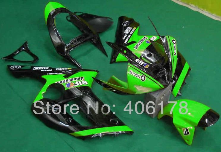 Горячие продаж,03 04 запросу zx6r комплекты обтекатель для Кавасаки ниндзя ZX-6р 2003-2004 зеленый эльф гонки мотоциклов Обтекатели (литье под давлением)