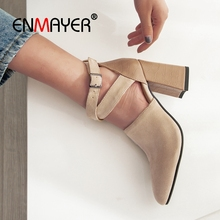 цены ENMAYER  2019  Basic  Super High Square Heel  Shoes Woman  Pointed Toe  Casual Fashion High Heel Pumps Size 34-43 LY2106