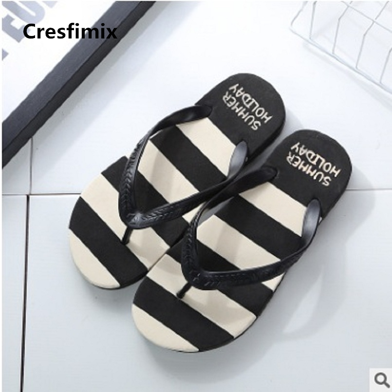 Cresfimix men fashion comfortable blue stripe beach flip flops male spring & summer soft outside flip flops cool flip flop a2088 кардиган flip flop