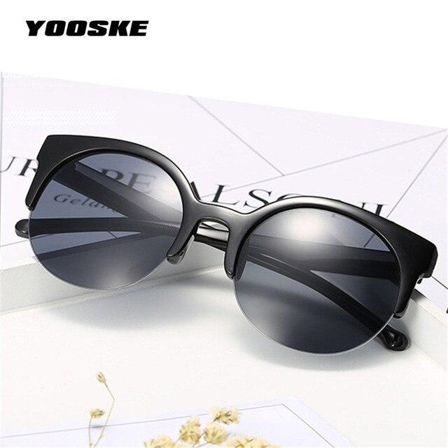 c6a5ff66edd5a YOOSKE Rodada Círculo Óculos Cat Eye Semi-Aro dos óculos de Sol das  Mulheres Óculos
