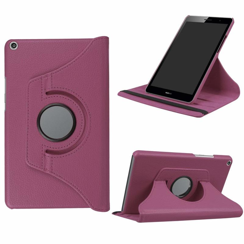 360 Degree Rotating Litchi Stand PU Leather Cover Case For Huawei Mediapad T3 8.0 KOB-L09 KOB-W09 Tablet Case Honor Play Pad 2 8