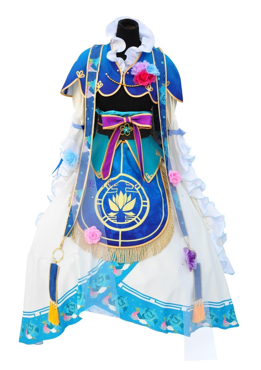 LoveLive! Eli Ayase Seven Lucky Gods Awaken Cosplay Costume Halloween Dress+hair accessories+crown+Shoes