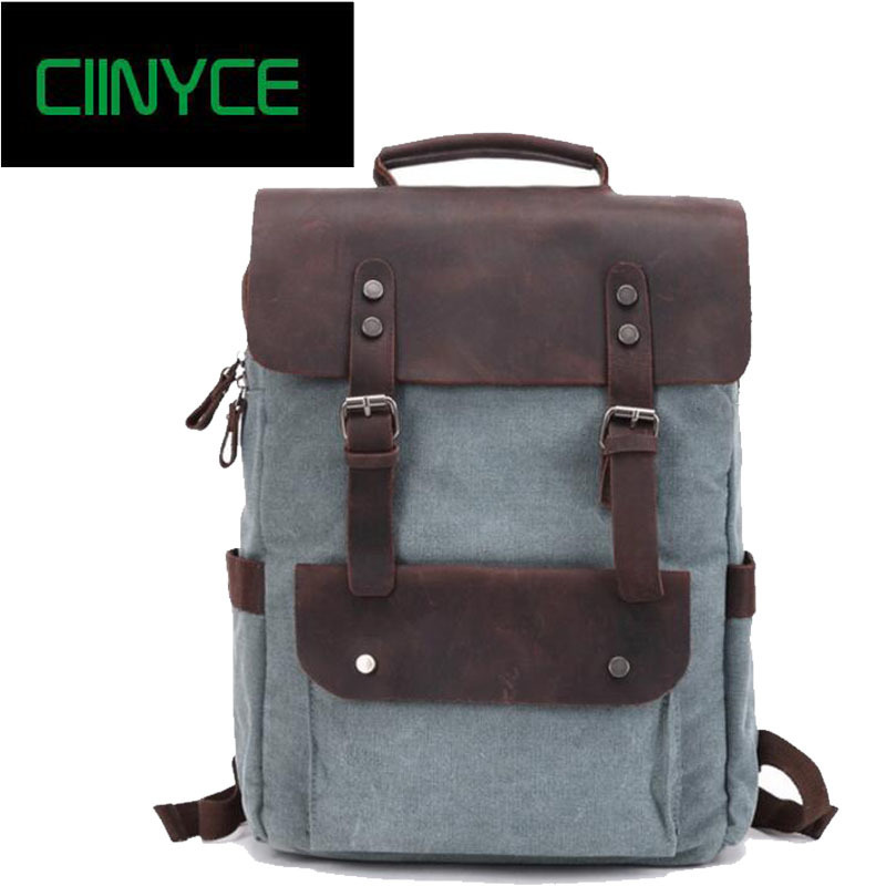 2018 New Waxed Canvas Water Proof Crazy Horsehide Cow Skin Unisex Mens Preppy School Back Packs Vintage Laptop Travel backpacks ...
