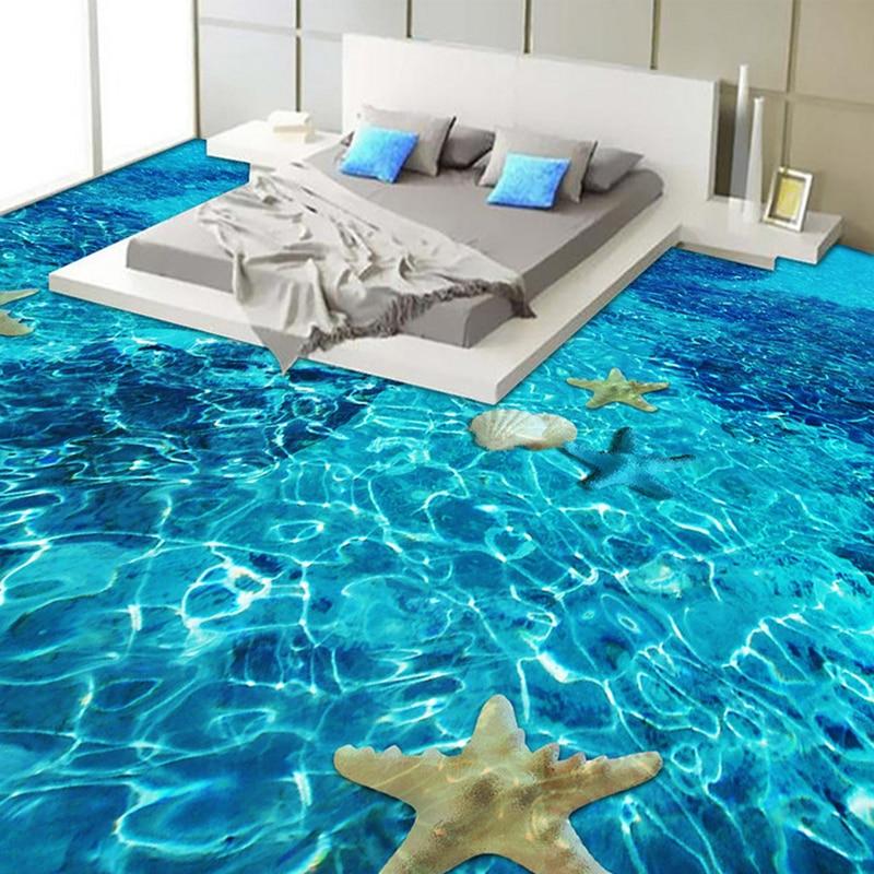 3D Stereo Sea Starfish Flooring Wallpaper Bedroom Bathroom PVC Self Adhesive Waterproof Wear 3D Floor Tile Mural Papel De Parede