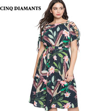 CINQ DIAMANTS Women Summer Plus Size Dress 5XL Large Size Midi Dress Boho Dress  Plus Maat Jurk Taille Plus Robe Femme def4356d4152
